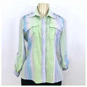 Purple, Blue & Green Button Down Size 12